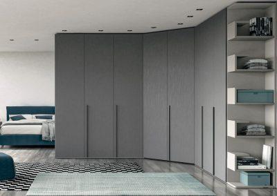 Hinged doors Wardrobe - DPL brushed metal look
