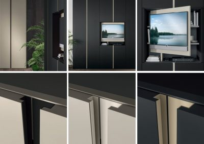 Hinged doors Wardrobe with Blend integrated handles - details